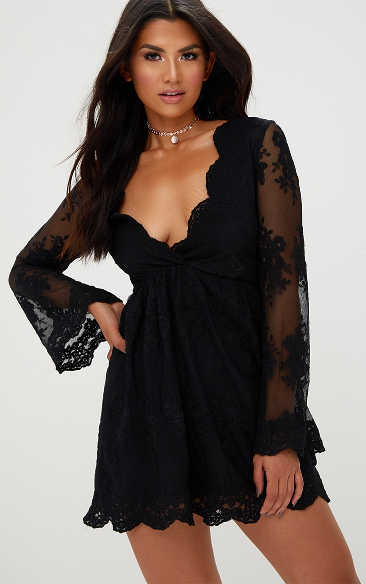 Black Lace Plunge Bell Sleeve Skater Dress  1