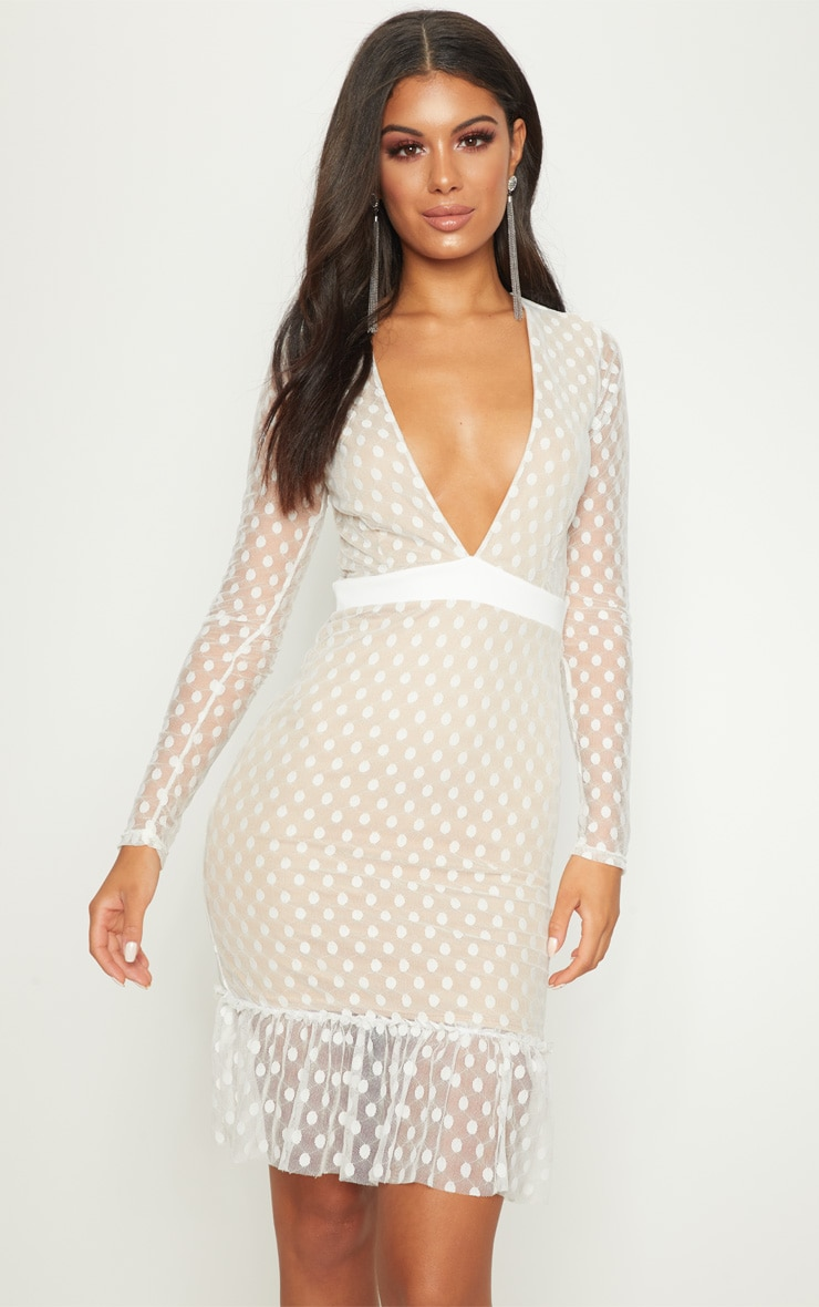 White Spotty Mesh Frill Hem Bodycon Dress 1