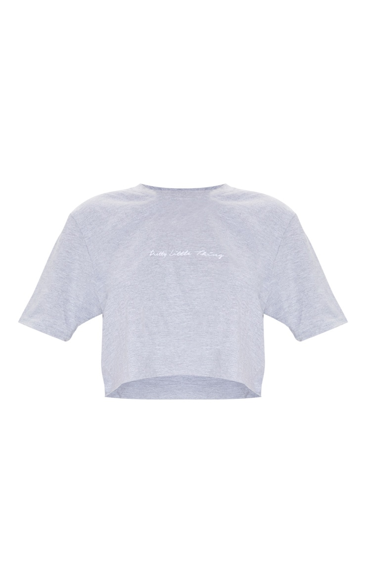 PRETTYLITTLETHING Grey Slogan Crop T shirt 5