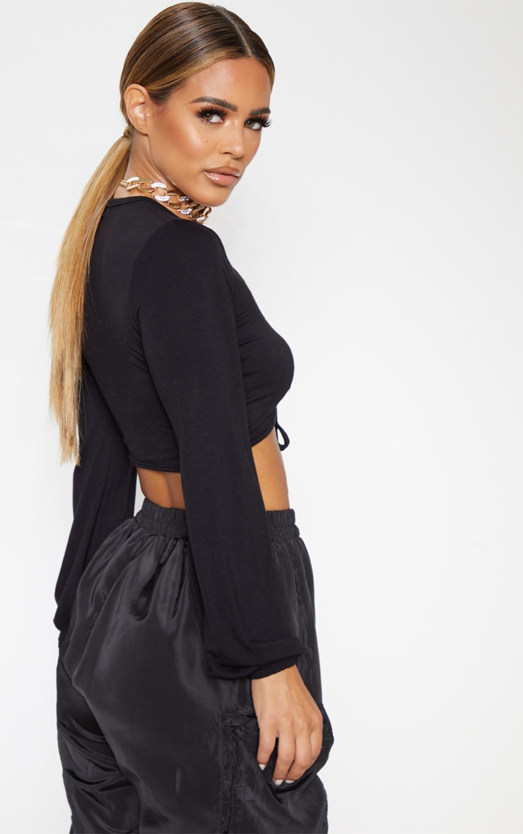 Petite Black Double Tie Long Sleeve Crop Top 2