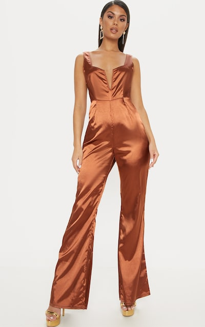 bf153318e023 Chocolate Satin V Bar Wide Leg Jumpsuit