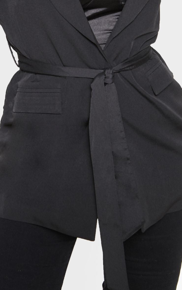 Black Belted Longline Woven Blazer    5