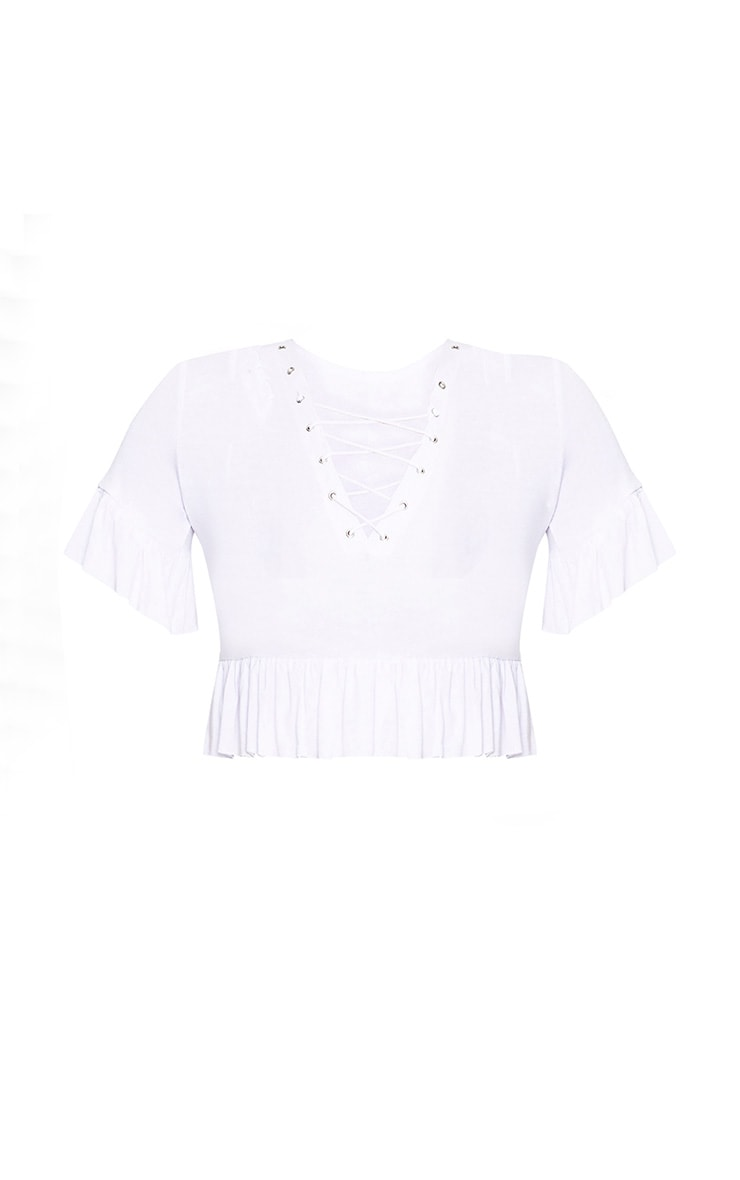 White Lace Up  Jersey Frill Crop Top 3