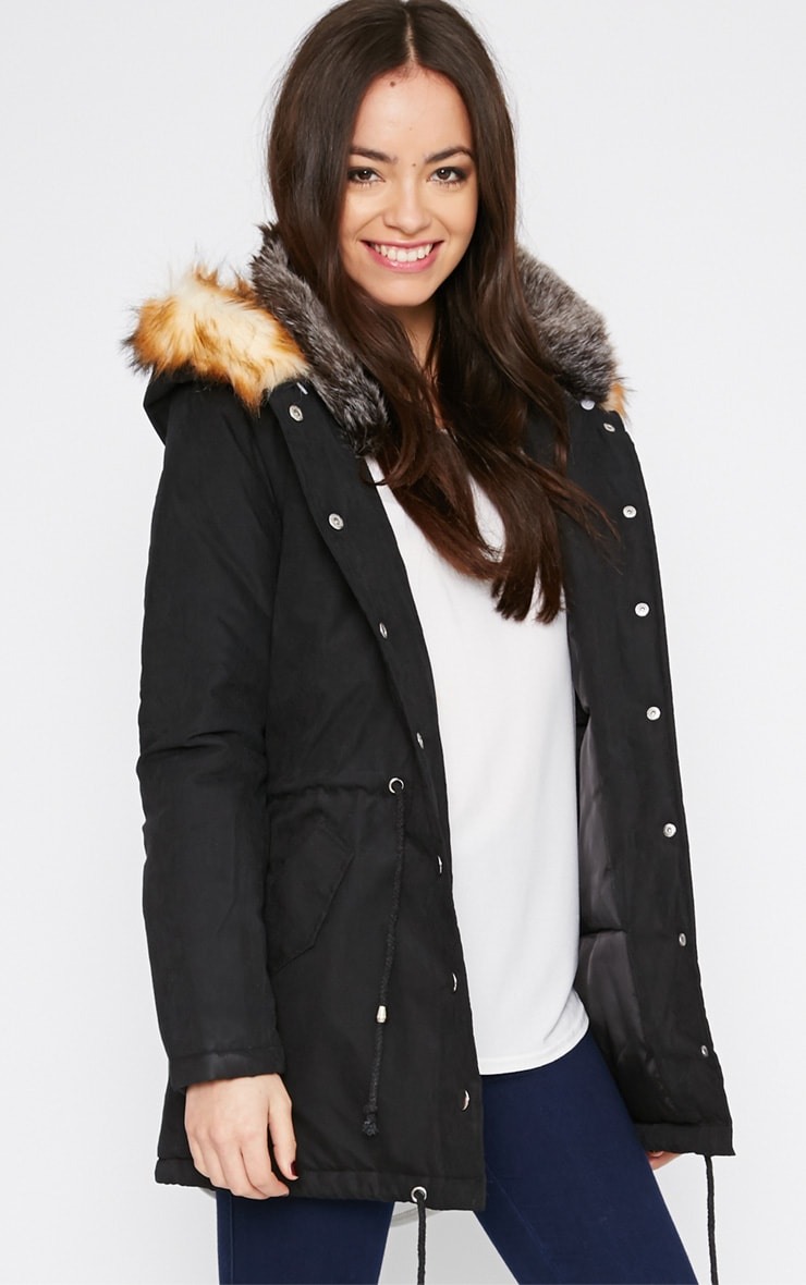 Tawny Black Fur Lined Parka Coat  1