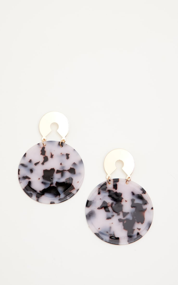 White Marbled Large Circle Drop Earrings 2