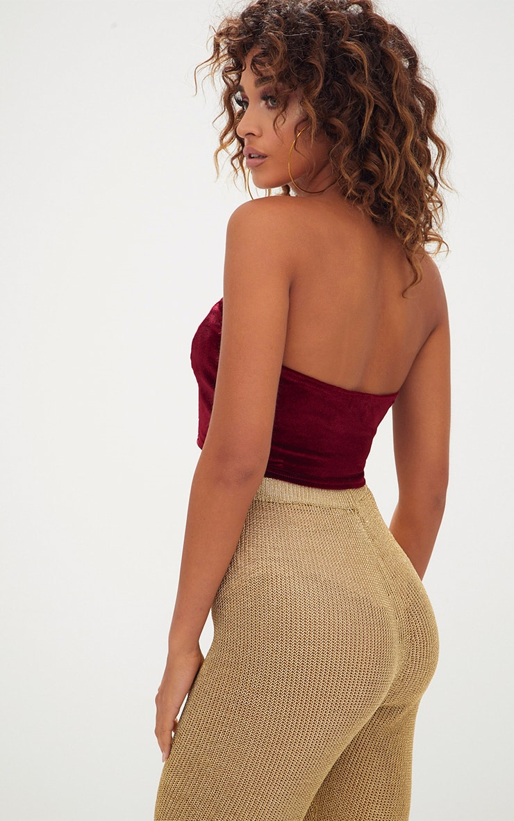 Wine Velvet V Neck Bandeau Crop Top  2