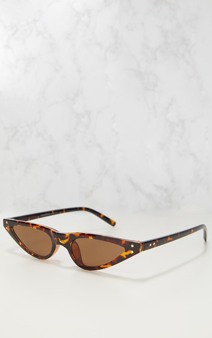 Tortoise Shell Slim Retro Sunglasses 2