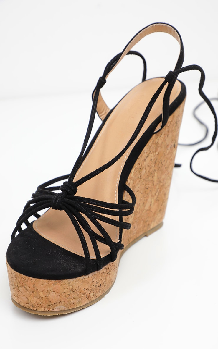 Black Strappy Lace Up Cork Wedge 3