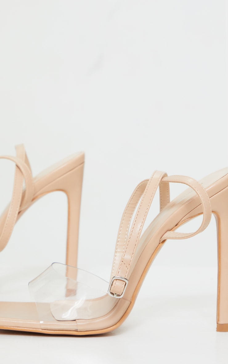 Nude Extreme Square Toe Clear Strap High Heels 4