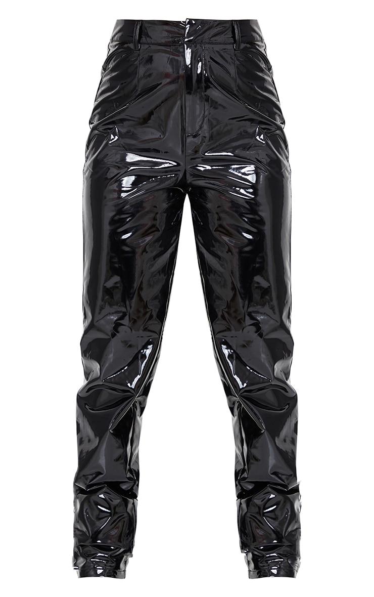 Petite Black Straight Leg Vinyl Trousers 5