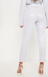 Silver Glitter Mesh High Waisted Crop Trouser 6