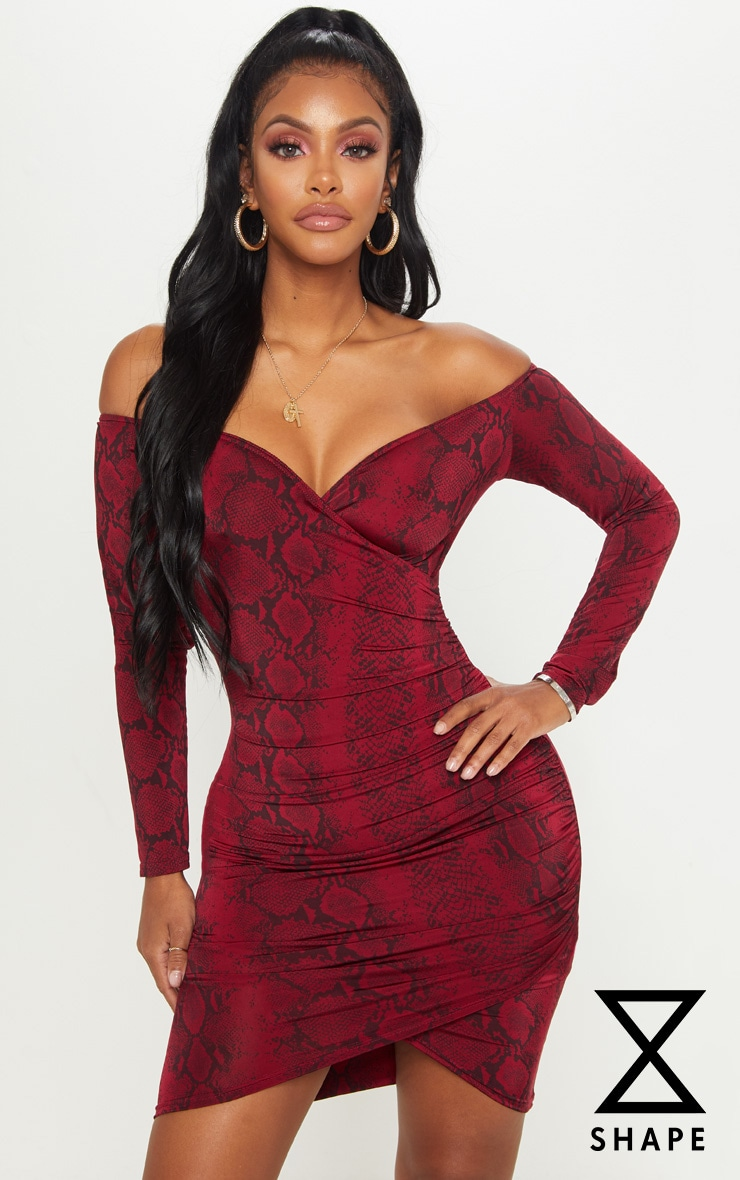 Shape Red Snake Print Bardot Bodycon Dress