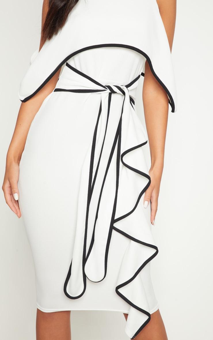 Monochrome Binding Detail Off The Shoulder Midi Dress 4