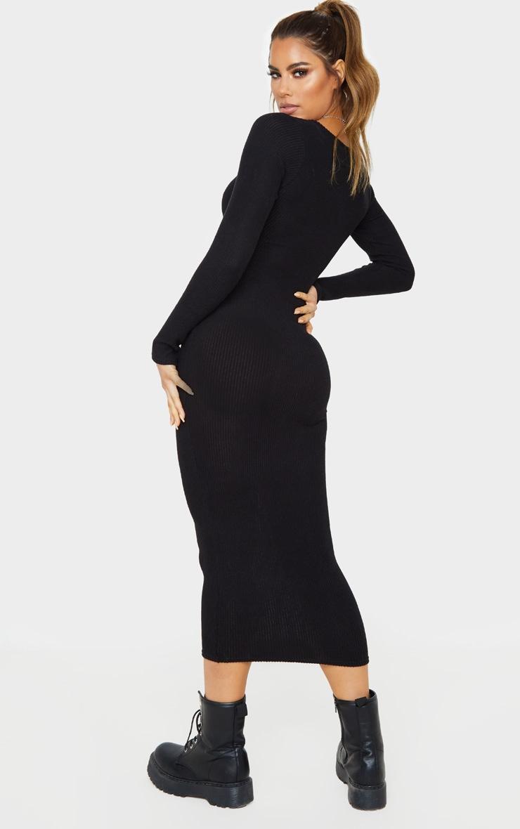 Tall Black Soft Rib Button Front Long Sleeve Midi Dress 2