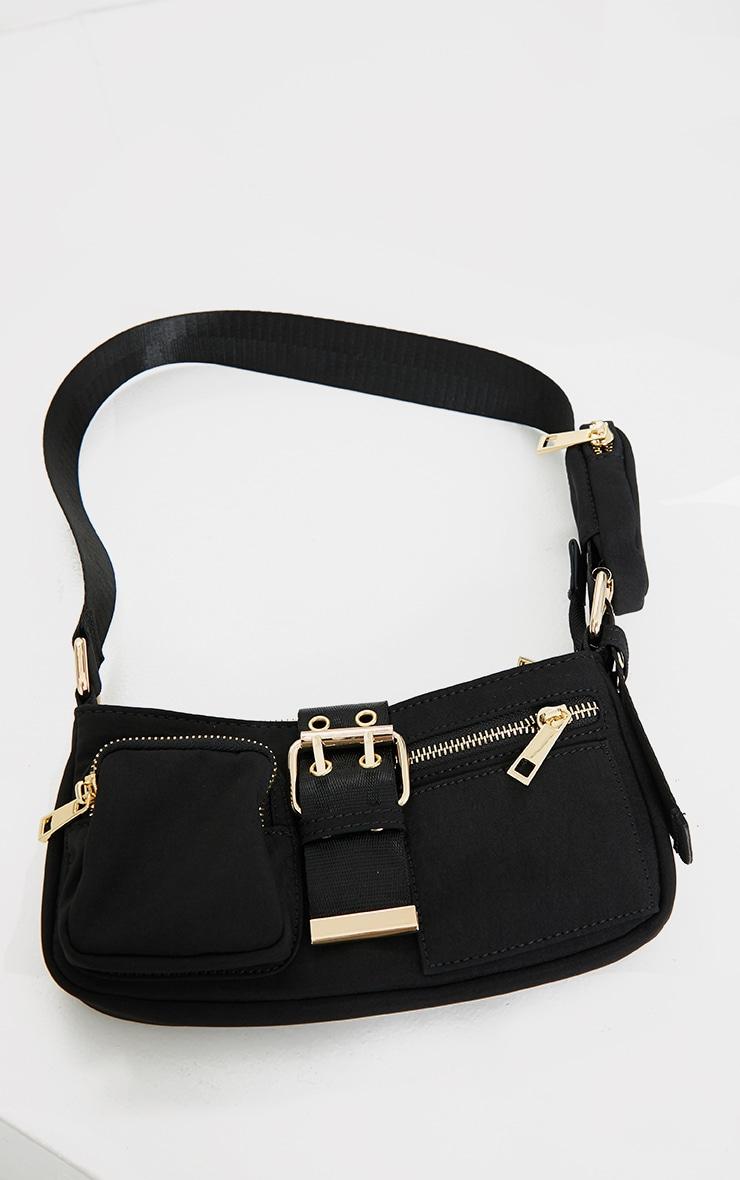 Black Multi Pocket And Zip Shoulder Bag 2