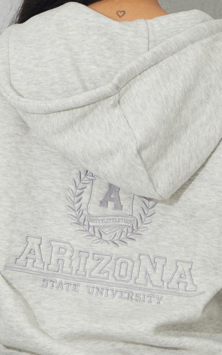 Grey Marl Arizona Embroidered Extreme Oversized Zip Through Hoodie 4