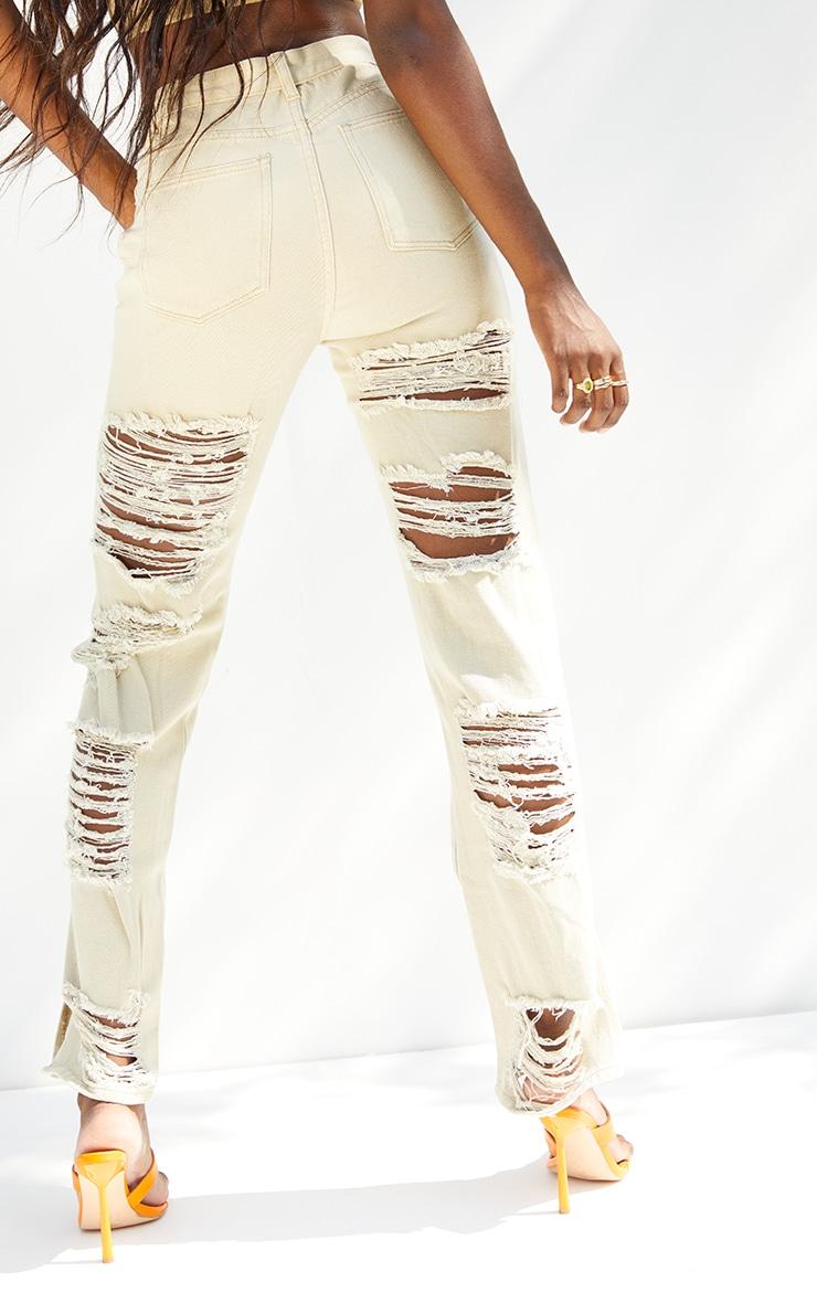 Tall  Stone  Wash Ripped Back Split Hem Jeans 3