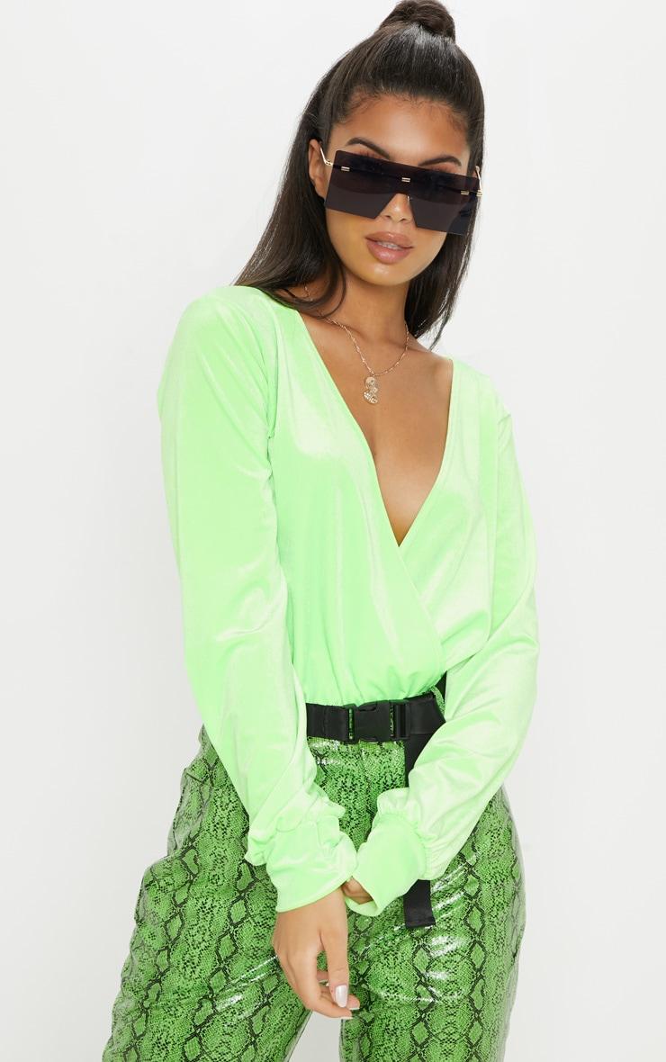 Neon Lime Velvet Plunge Bodysuit 5