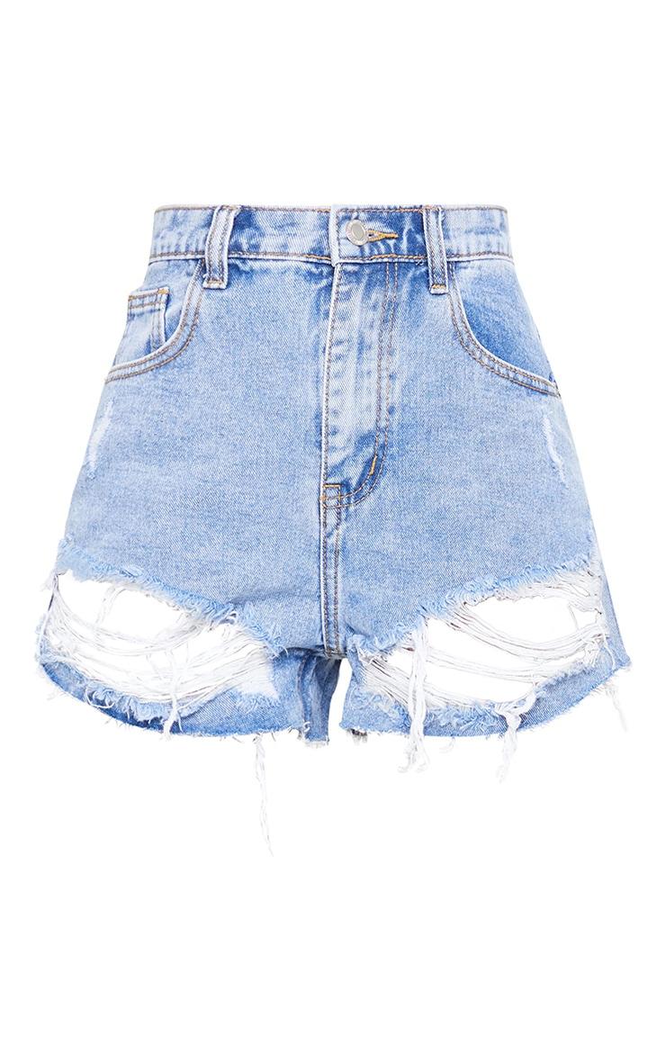 Light Blue Wash Distressed Hem Denim Shorts 6