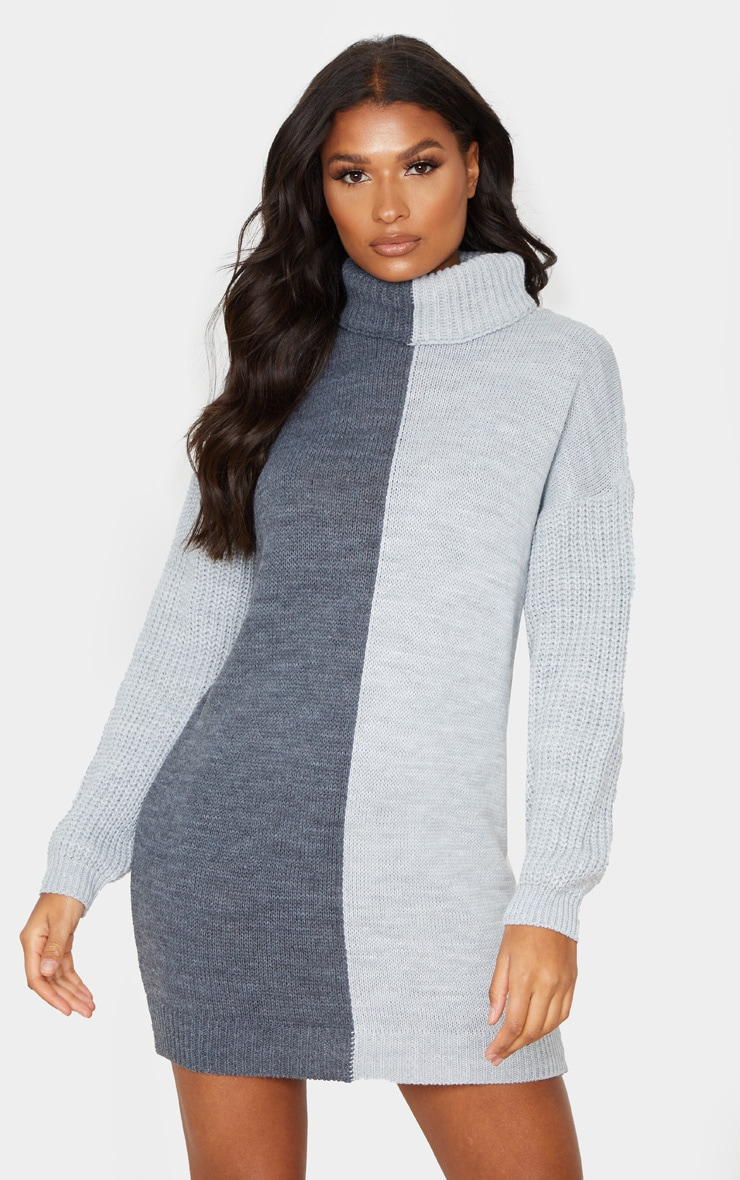 Grey Colour Block Roll Neck Sweater Dress 1