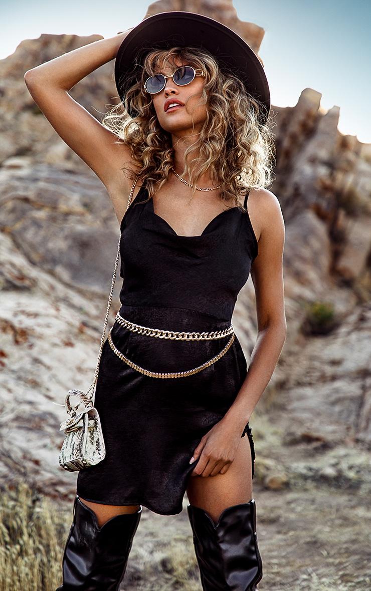 Black Hammered Satin Cowl Ruched Split Bodycon Dress 1