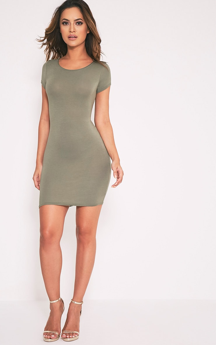 Basic Khaki Jersey Dress 5