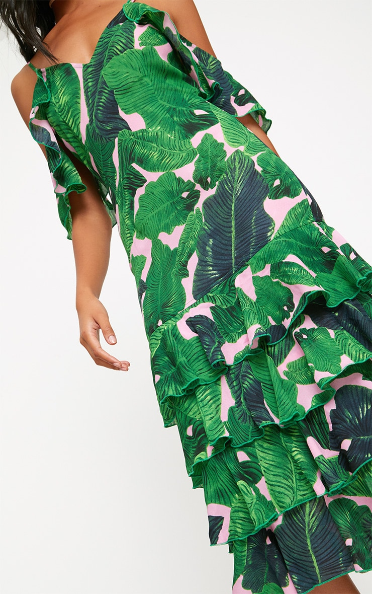 Green Tropical Print Strappy Frill Hem Midi Dress 5