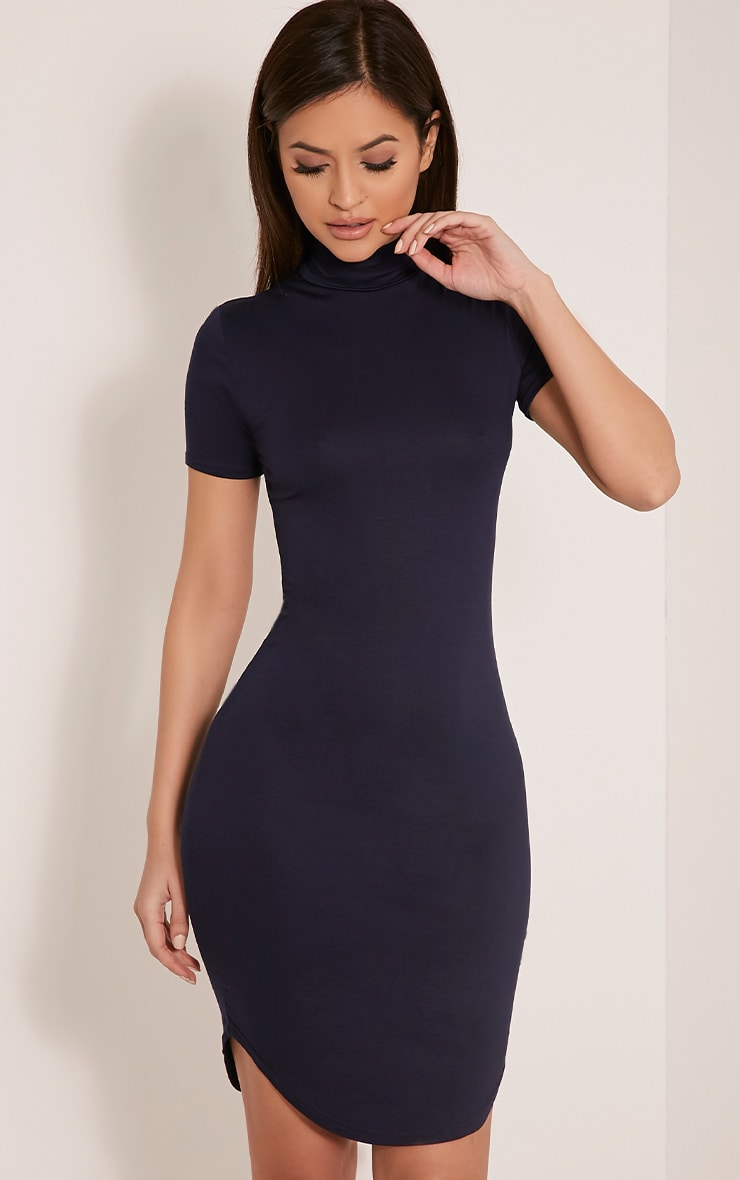 Alby Navy Cap Sleeve Curve Hem High Neck Dress 1