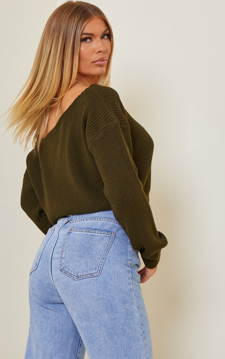Khaki Off The Shoulder Crop Sweater 2