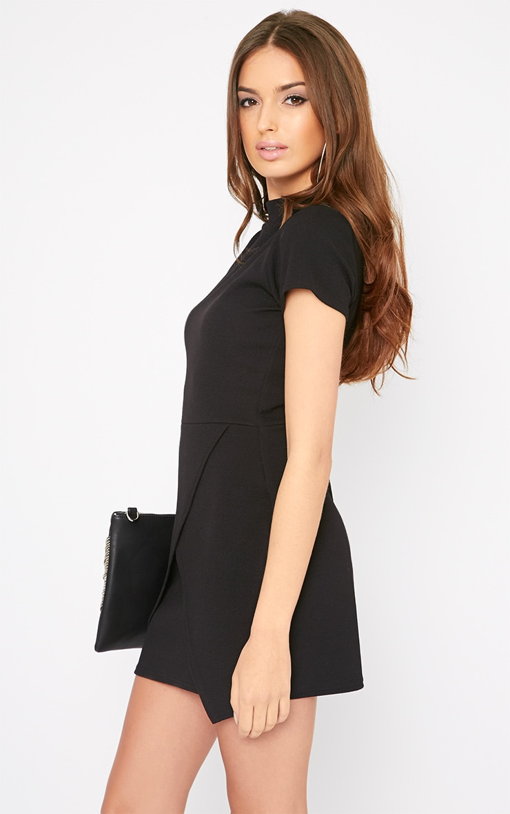 Kati Black Crepe Turtle Neck Wrap Front Mini Dress 4