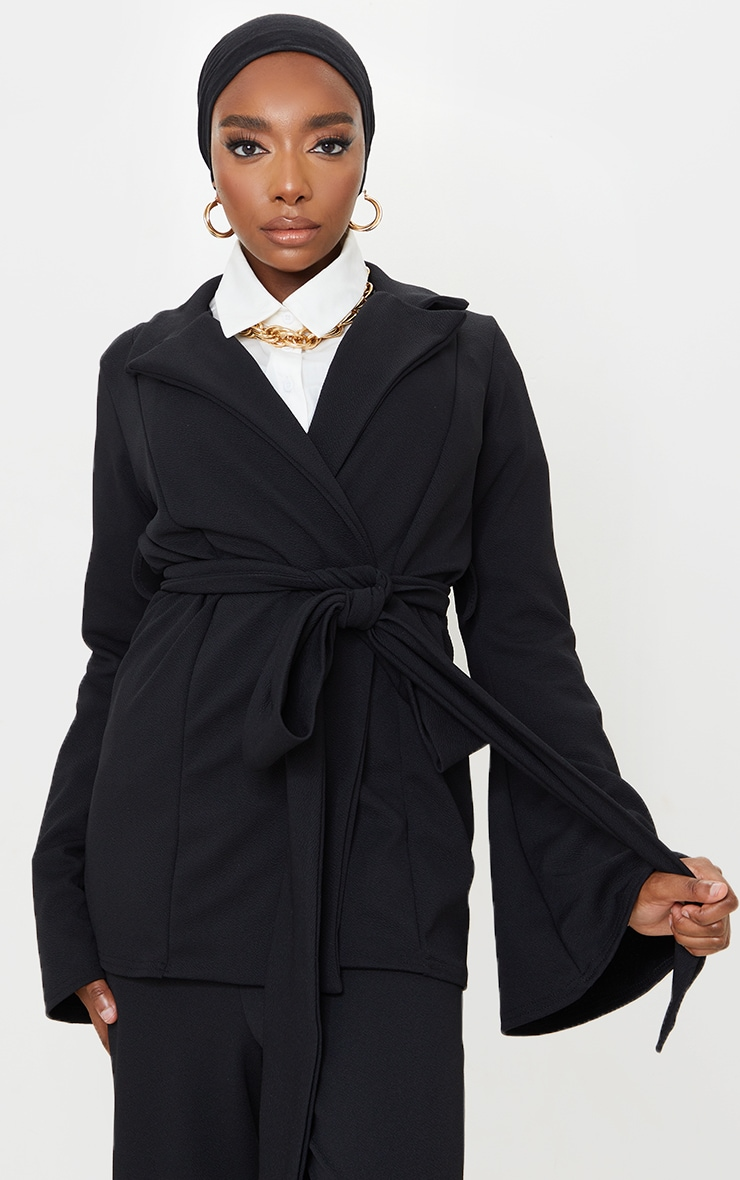 Black Crepe Flare Sleeve Tie Jacket 1