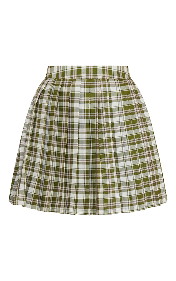 Green Check Woven Pleated Tennis Skirt 6