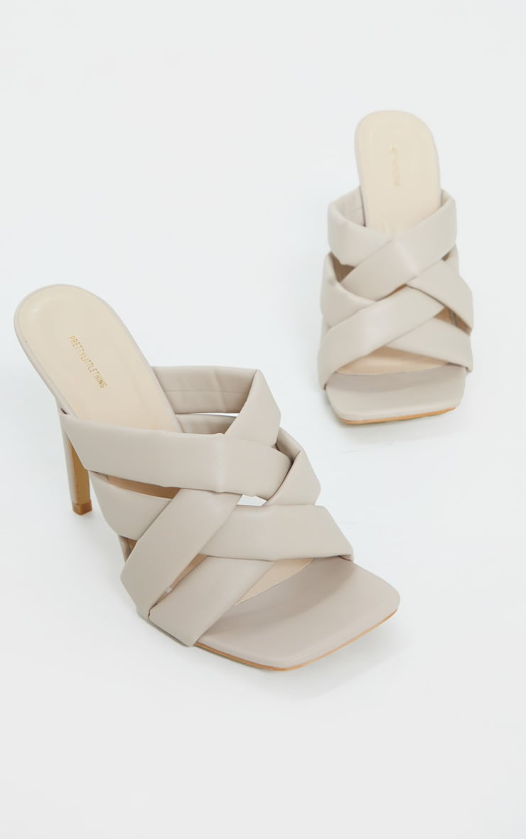 Cream Wide Fit Quilted Woven Strap High Mule Heels 4