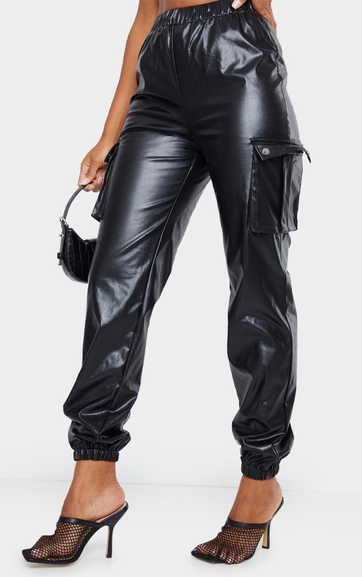 Black Faux Leather Cargo Pants 2