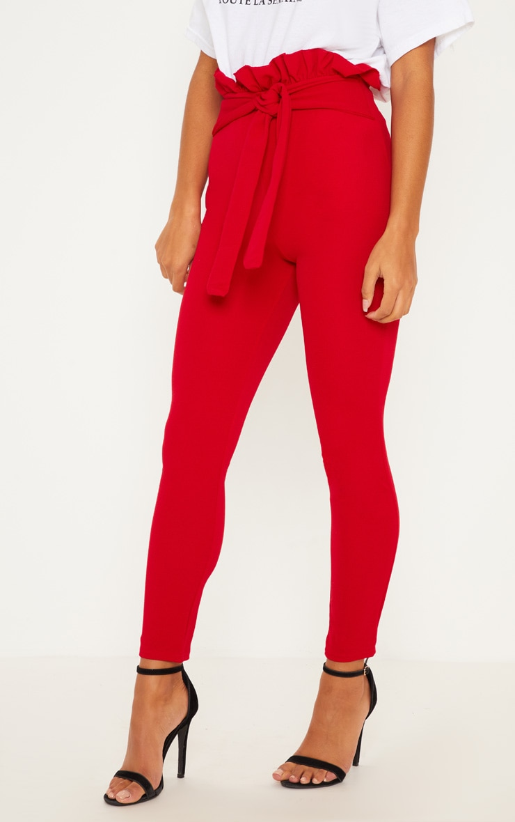 Perlita Red Paperbag Skinny Trousers 2