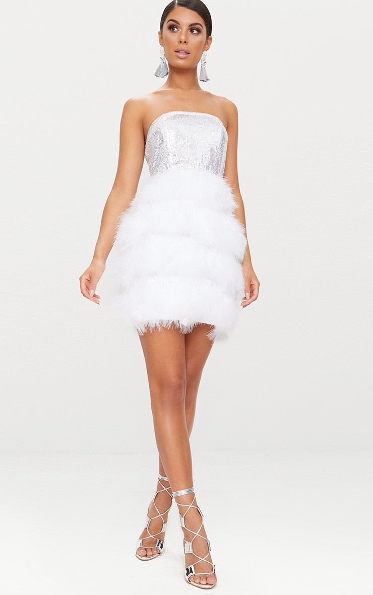 Silver Bandeau Sequin Feather Trim Bodycon Dress 5