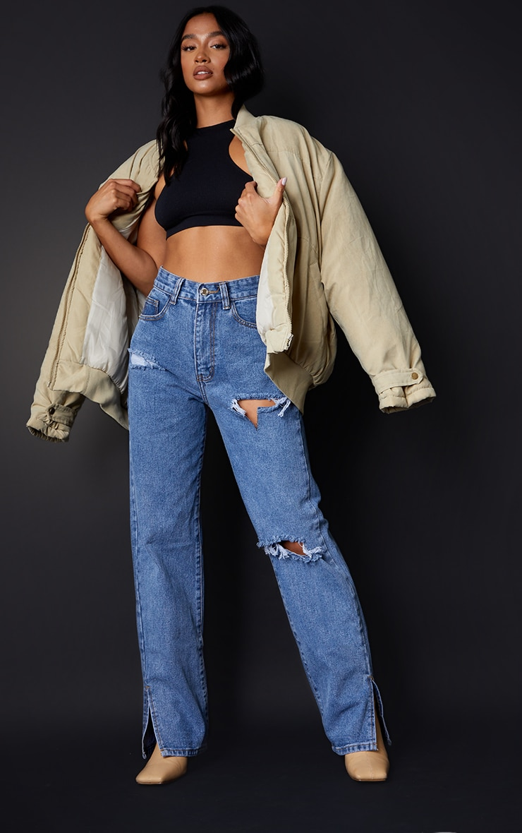 Petite Mid Blue Wash Ripped Split Hem Jeans 1