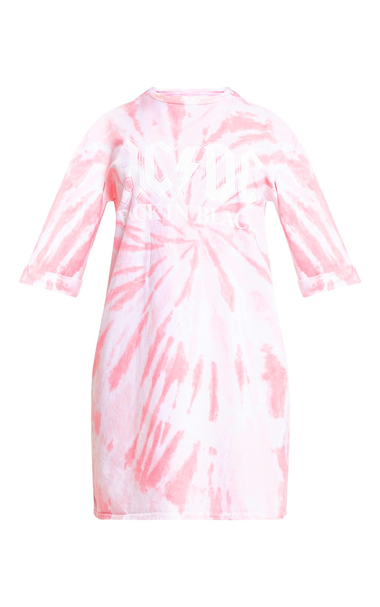 ACDC Pink Tie Dye T Shirt Dress  3