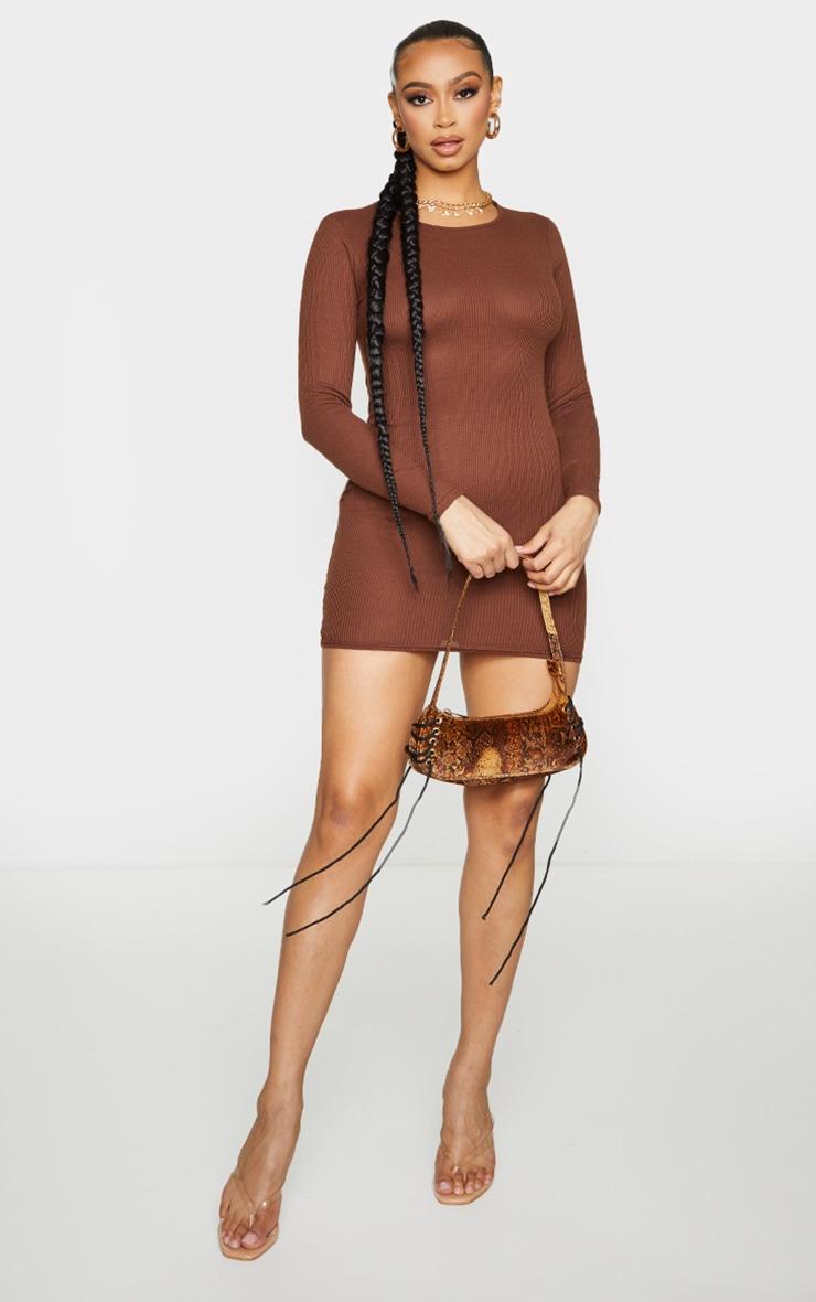 Chocolate Ribbed Long Sleeve Bodycon Dress 3