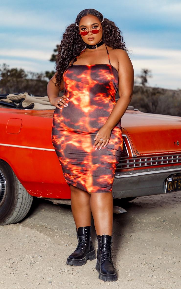 Plus Orange Flame Print Halterneck Bodycon Dress 1