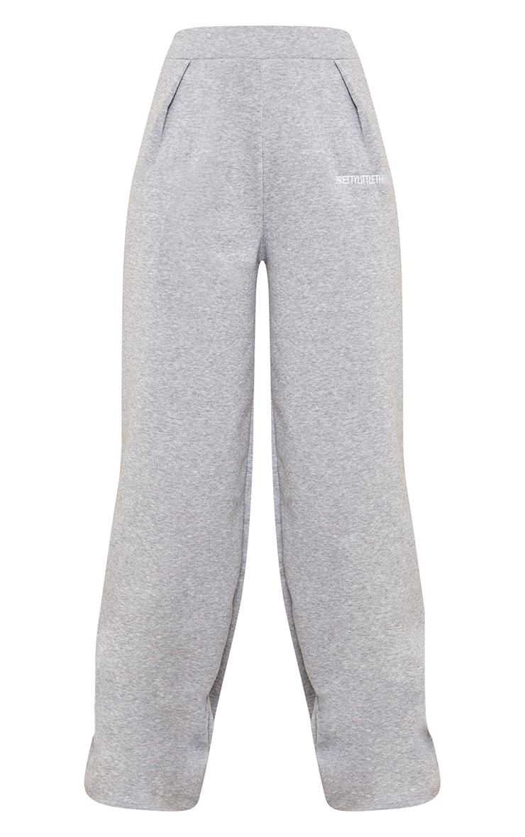 PRETTYLITTLETHING Grey Embroidered Wide Leg Joggers 5