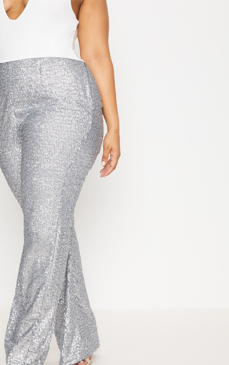 Plus Silver Sequin Flares 5