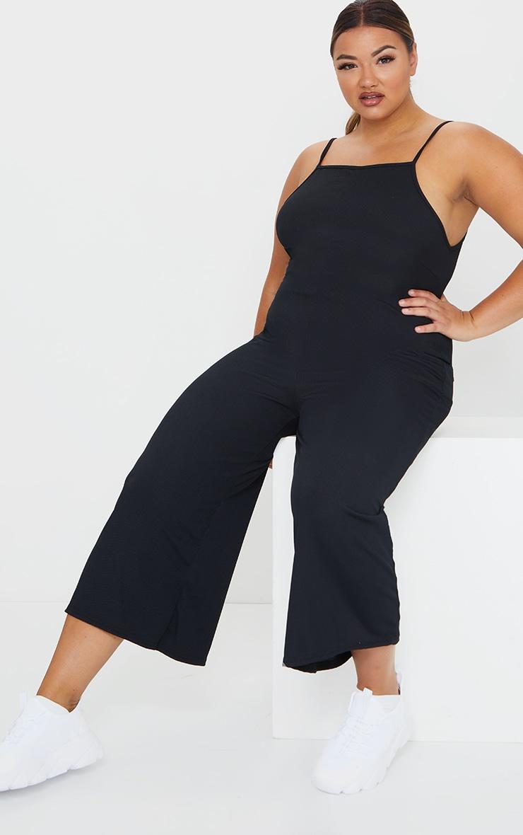Plus Black Rib Wide Leg Culotte Jumpsuit 3
