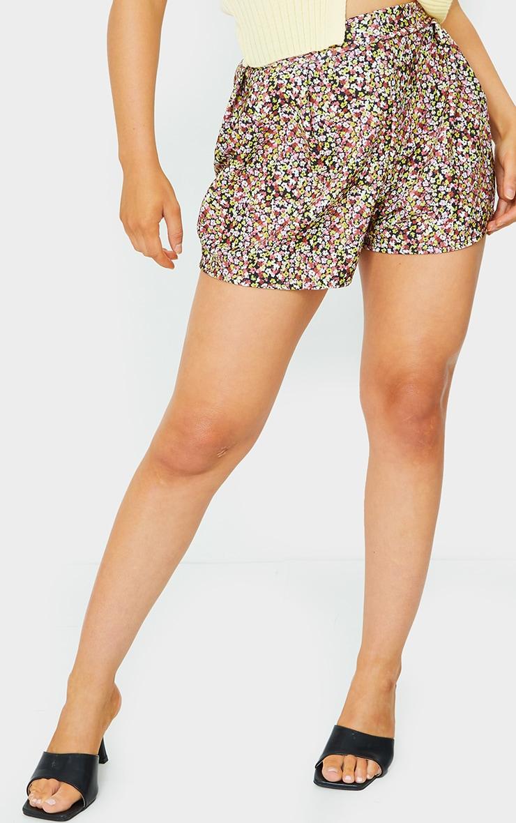 Black Ditsy Print Floaty Shorts 2
