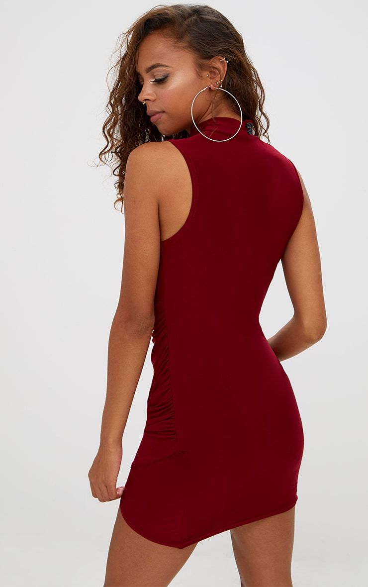 Petite Burgundy Choker Ruched Bodycon Dress 2