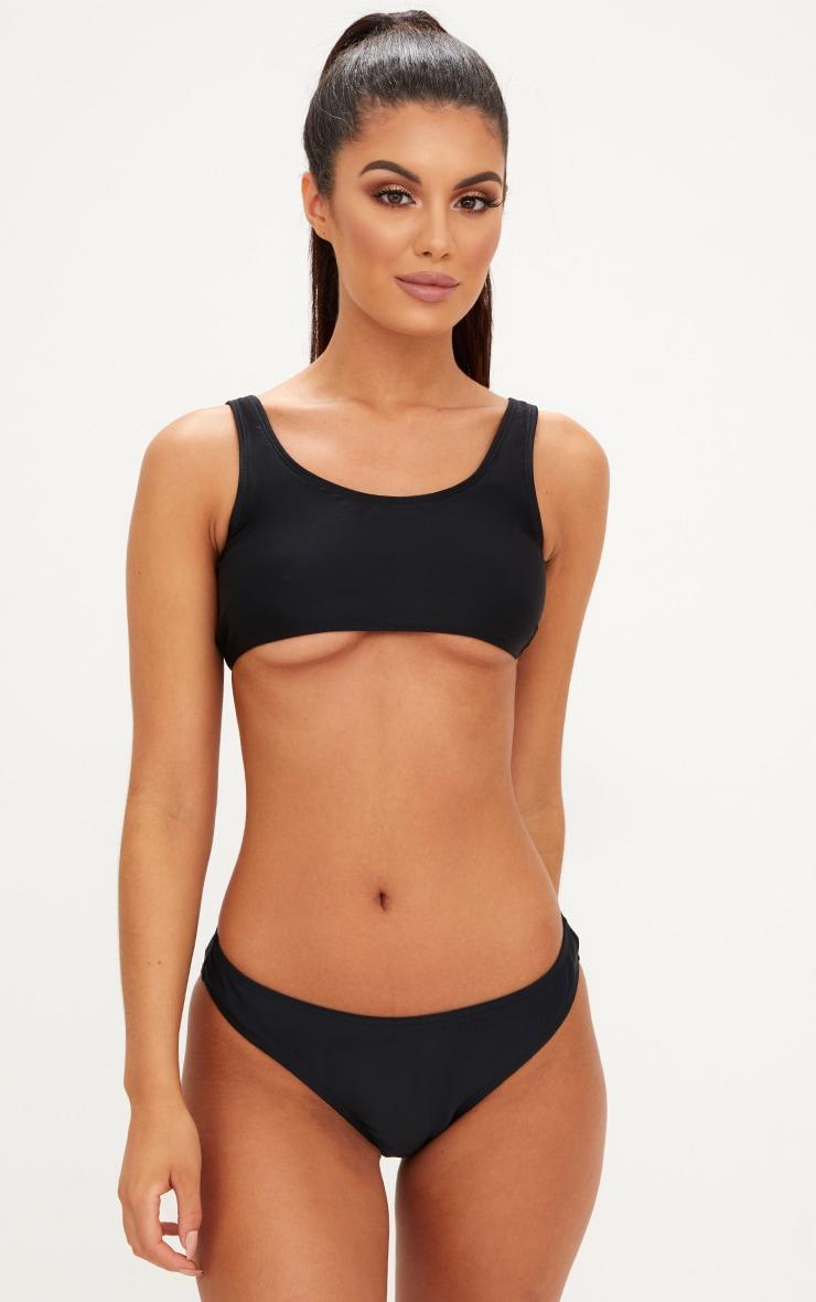 Mix & Match Black High Leg Bikini Bottoms 1