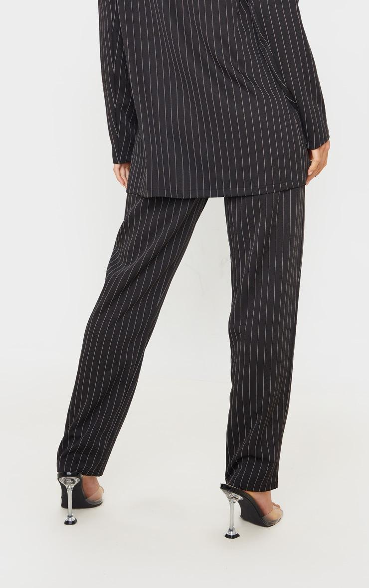 Petite Black Pinstripe Straight Leg Trouser 4