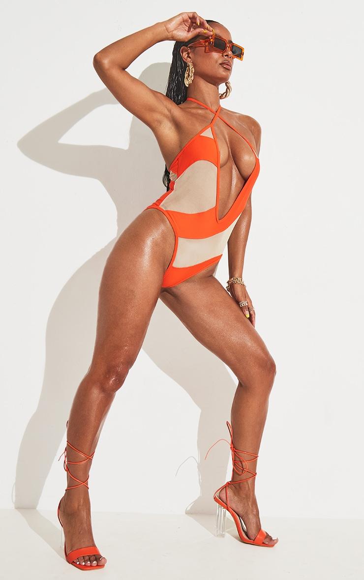 Orange Cover Stitch Detail Mesh Plunge Swimsuit