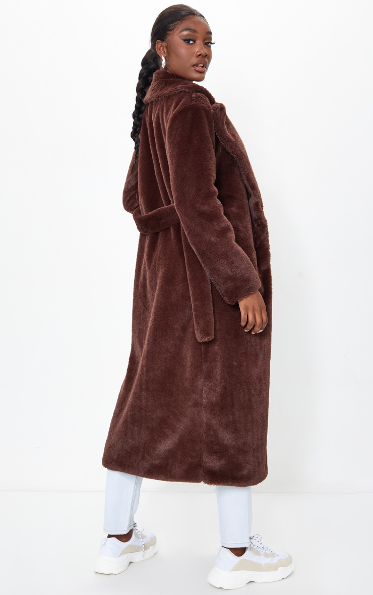 Tall Chocolate Belted Faux Fur Coat 2
