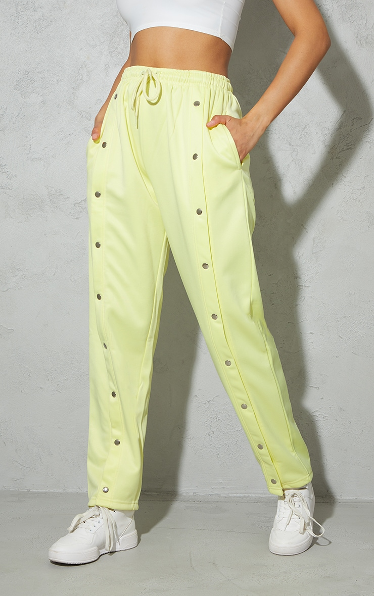 Pale Yellow Popper Front Track Joggers 2